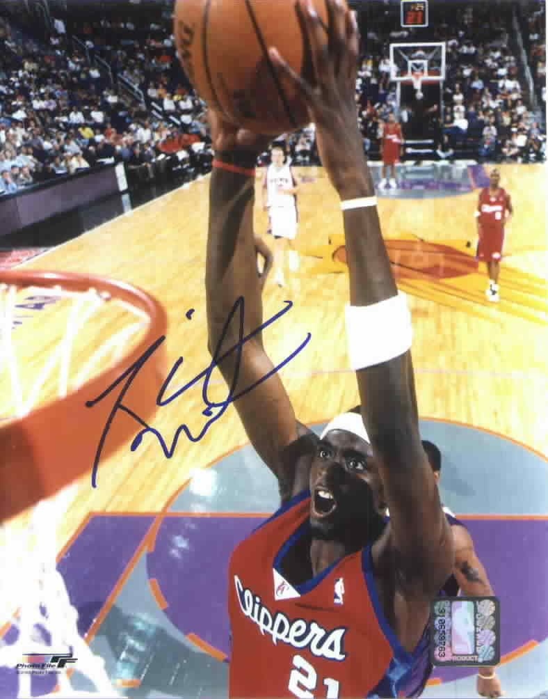 darius miles autographed los angeles clippers 11x14 dunk