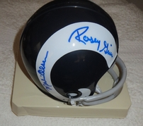Deacon Jones Lamar Lundy Merlin Olsen Rosey Grier (Fearsome Foursome) autographed Los Angeles Rams mini helmet