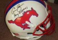 Eric Dickerson & Craig James autographed SMU Mustangs mini helmet inscribed Pony Express (JSA)