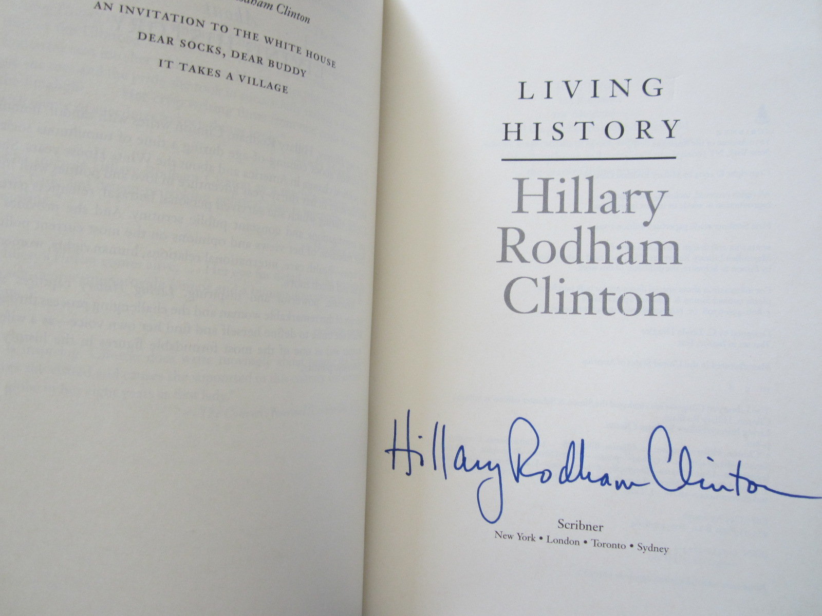 hillary clinton autographed living history softcover book full name