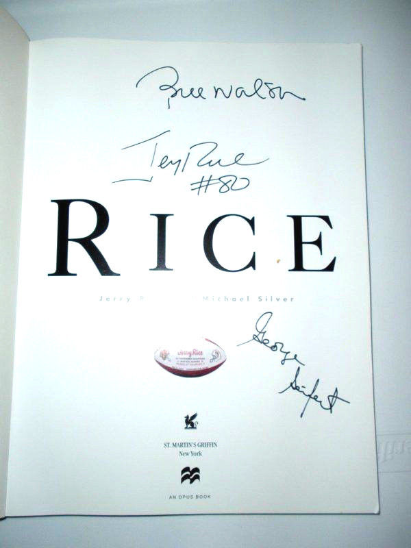 Jerry Rice Bill Walsh George Seifert autographed coffee