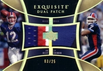 Jim Kelly & J.P. Losman 2005 Upper Deck Exquisite Dual Patch game jersey card #3/25 graded BGS 8.5