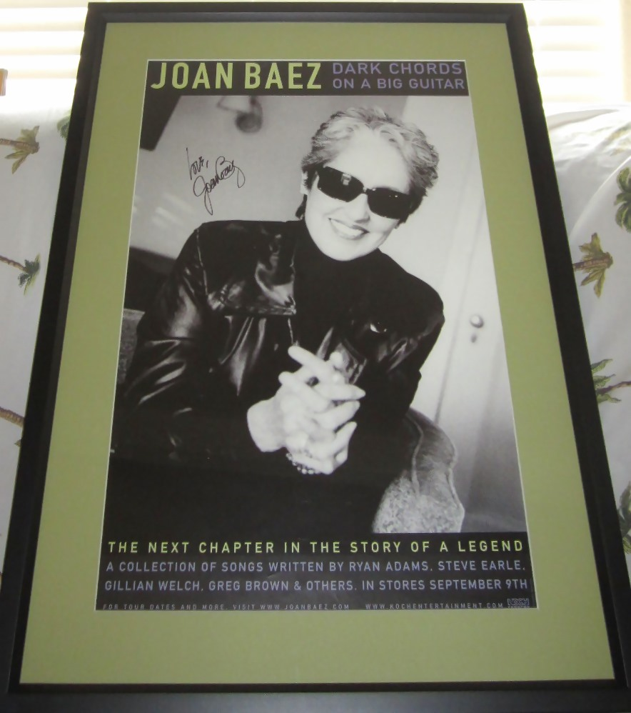 Joan Baez Autographed Dark Chords On A Big Guitar Poster Matted Framed