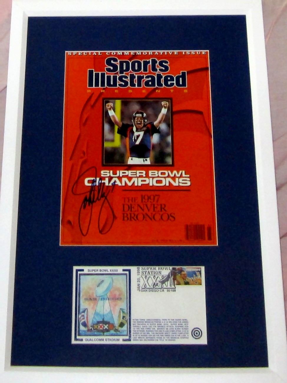 John Elway autographed Denver Broncos Sports Illustrated Presents cover  matted   framed with Super Bowl 32 cachet e869c49a0