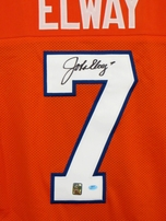 John Elway autographed Denver Broncos stitched orange throwback jersey with embroidered stats