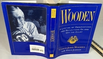 John Wooden autographed Wooden hardcover book (inscribed To Barry)