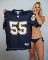 Junior Seau San Diego Chargers 2002 authentic Reebok stitched blue jersey