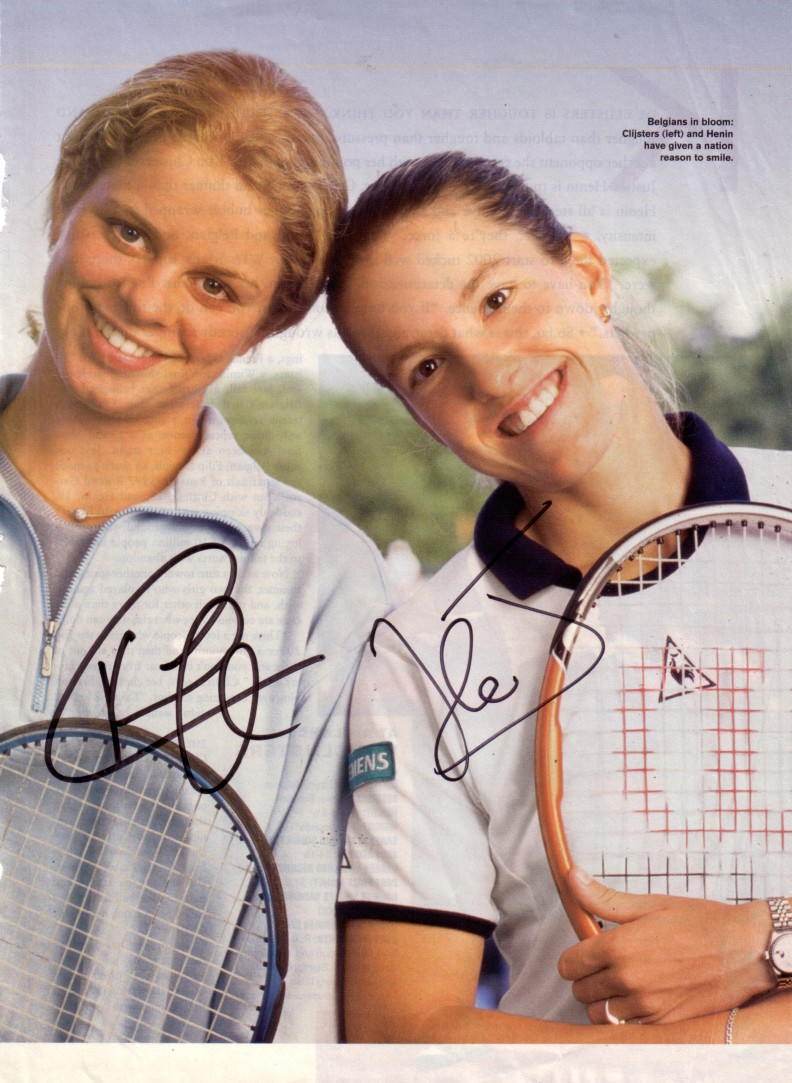Kim Clijsters & Justine Henin autographed full page tennis