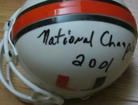 Larry Coker autographed Miami Hurricanes mini helmet inscribed 2001 National Champions