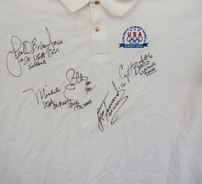 Lisa Fernandez Crystl Bustos Leah O'Brien-Amico Michele Smith (softball) autographed 2000 USA Olympic shirt