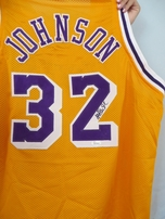 Magic Johnson autographed Los Angeles Lakers stitched authentic style jersey (JSA)