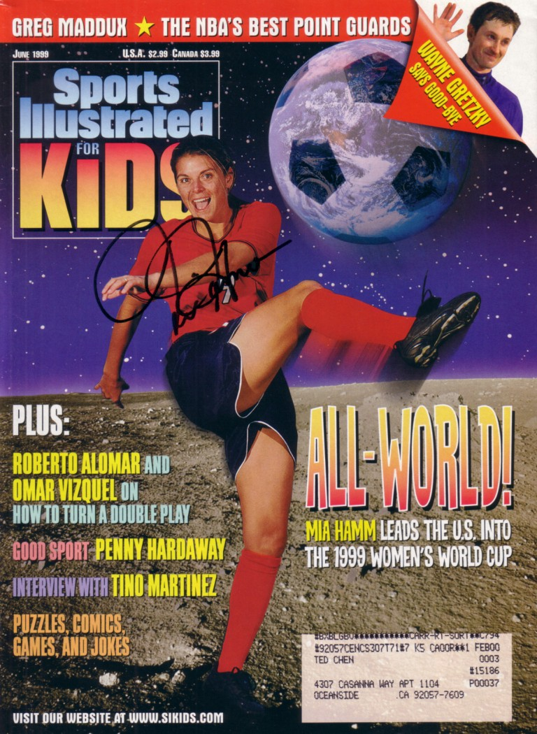 Mia Hamm Autographed Us Soccer 1999 Women S World Cup Sports Ilrated For Kids Magazine Steiner