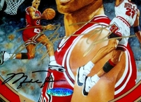Michael Jordan autographed 1995-96 Chicago Bulls 72 Wins commemorative plate (UDA)