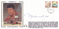 Muhammad Ali autographed 1990 Gateway cachet matted & framed with vintage boxing photo