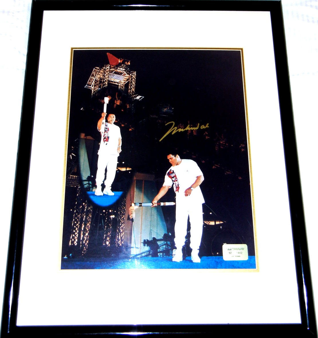 muhammad ali autographed 1996 olympic torch 16x20 poster size photo