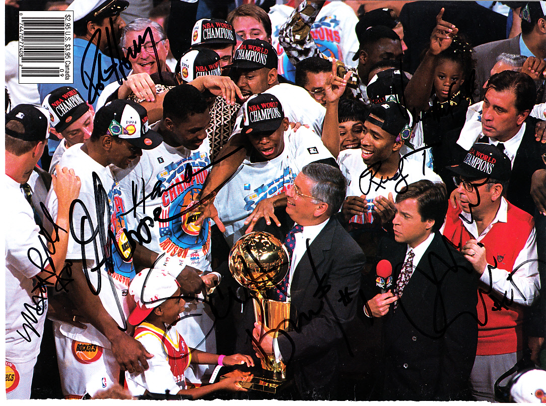 1993 94 Houston Rockets NBA Champions team autographed photo