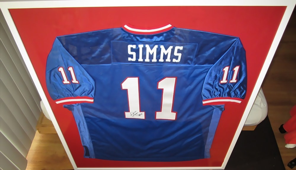 5035f84b2 ... Phil Simms autographed New York Giants stitched blue throwback jersey  matted framed ...