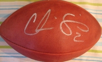 Phil Simms & Chris Simms autographed NFL game model football