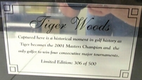 Tiger Woods autographed 2001 Masters Champion 16x20 poster size photo matted & framed UDA #306/500