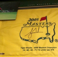 Tiger Woods autographed 2005 Masters golf flag matted & framed with photos #73/500 UDA