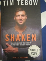 Tim Tebow autographed Shaken hardcover book