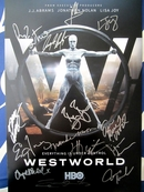Westworld cast autographed 2017 Comic-Con poster (Ed Harris Thandie Newton Evan Rachel Wood Jeffrey Wright)