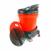 5 Gallon Wash Bucket System with Dolly - RED