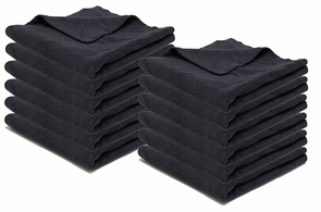 Carbon Black Edgeless Microfiber Polishing Cloth 12 Pack