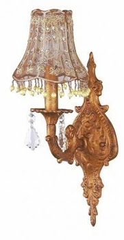 1 arm antique gold wall sconce w/taupe vine dangle shade - not available