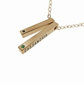 14k gold double square bar diamond necklace