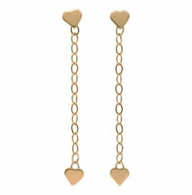 14k gold heart dangle earrings