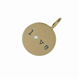 14k gold love charm with genuine diamond