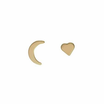 14k gold moon & heart stud earrings