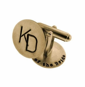 14k gold round cuff links