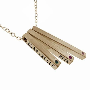 14k gold square bar step necklace