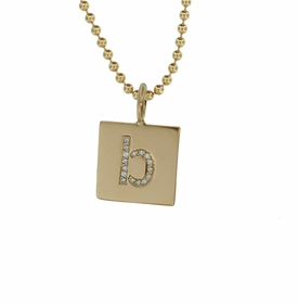 14k gold square pave diamond necklace
