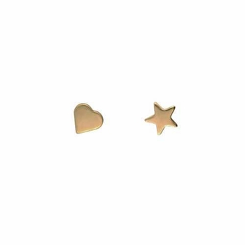 14k gold star & heart stud earrings