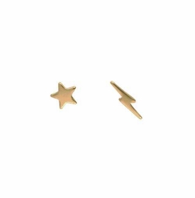 14k gold star & lightning stud earrings