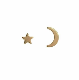 14k gold star & moon stud earrings