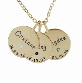 14k gold trio family charm necklace