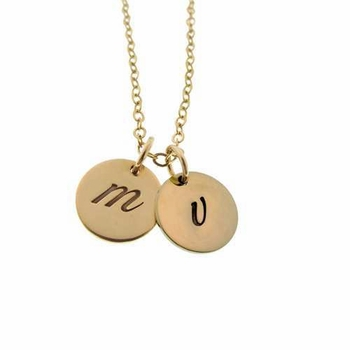 14k gold twin disc charm necklace