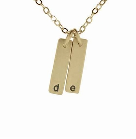 14k solid gold id twin tag necklace
