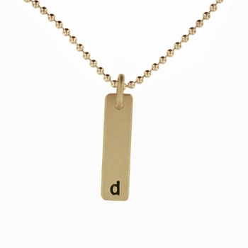 14k solid gold small id tag necklace