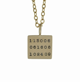 14k solid gold square pendant necklace