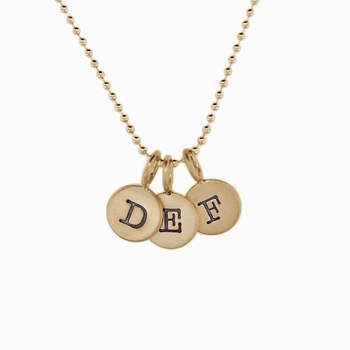 14k tiny gold initial charm necklace