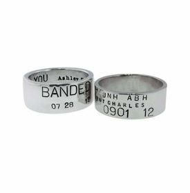 14k white gold duck band wedding ring set