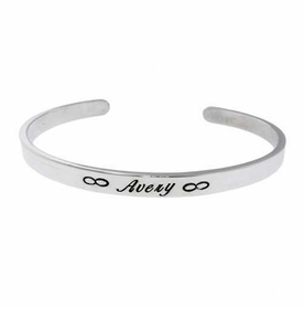 14k white gold engraved cuff bracelet