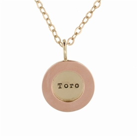 14k yellow gold disc, 14k rose wide rim pawprint charm