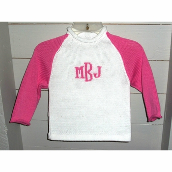 2 color raglan sweater with monogram