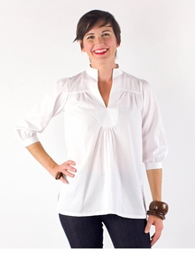 3/4 sleeve evy blouse - white